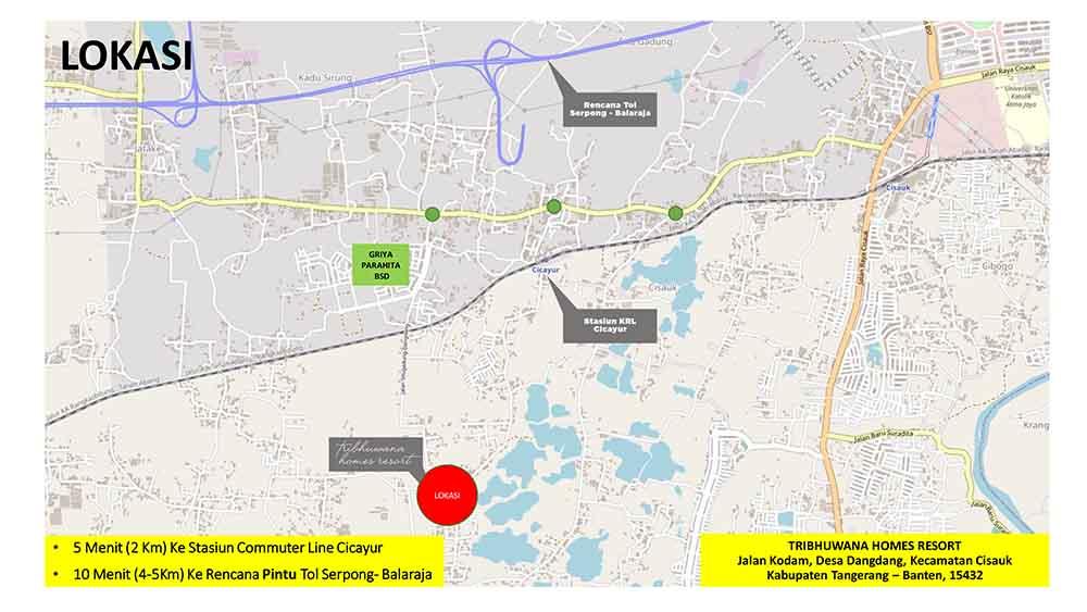 Peta lokasi perumahan Tribhuwana Homes Resort