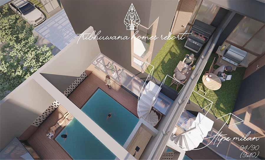 Rumah tipe Milan dengan kolam renang