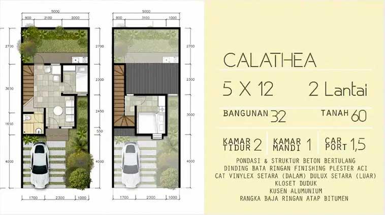 Denah rumah tipe Calathea 2 Lantai