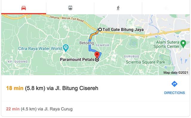 Lokasi perumahan di Tangerang hanya berjarak kurang dari 5KM dari exit toll Bitung Jaya