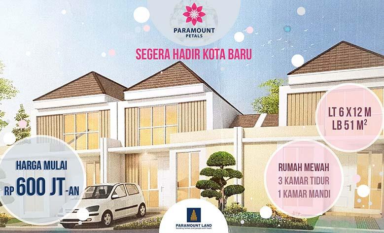 Paramount Petals Curug Tangerang Dijual rumah mewah 2 lantai lokasi strategis.