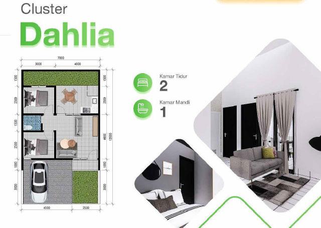 Denah Rumah Cluster Dahlia Perumahan Serpong Green Paradise Parung Panjang