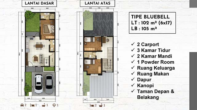 Layout rumah tipe Bluebell