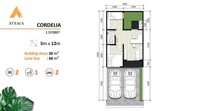 Layout rumah Type Cordelia 1 Lantai