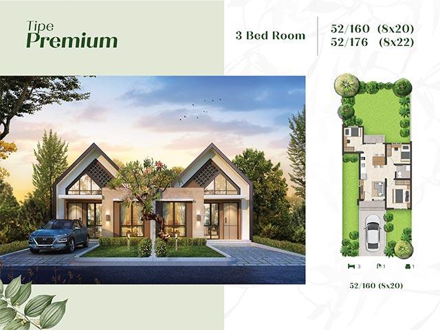 Type Premium 52, 3 Kamar Tidur Kota Podomoro Tenjo