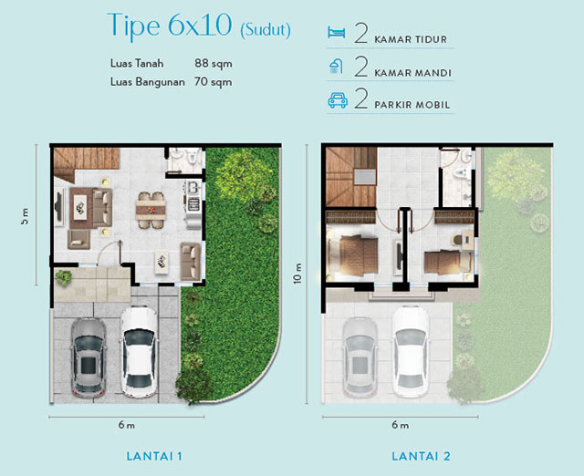 layout denah rumah 6x10 alton house millenniun city