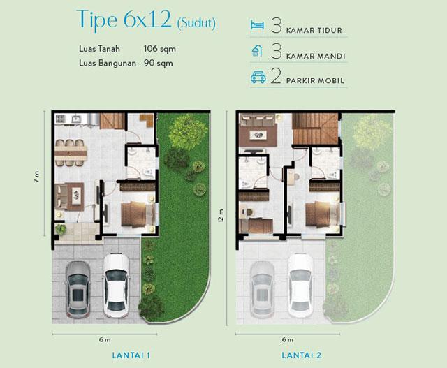 layout denah rumah 6x12 sudut milleniun city