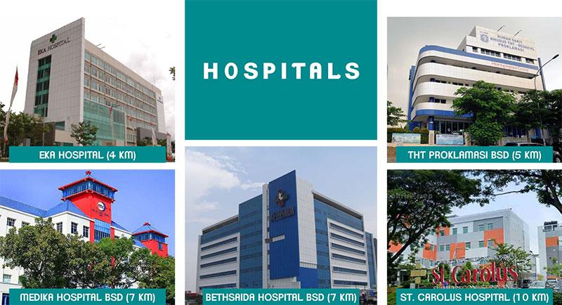 Tersedia banyak rumah sakit di sekitar BSD City