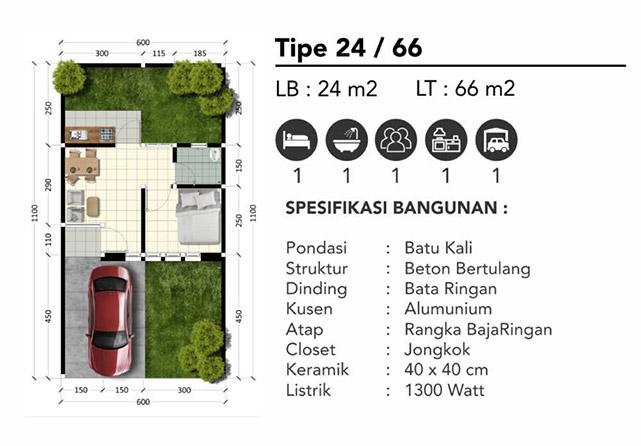 Denah Type 24/66 The Leaf Parung Panjang