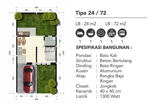 Denah Rumah type 24/72 Perumahan Subsidi Dekat Stasiun Parung Panjang