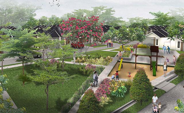 Area taman dan tempat bermain anak di perumahan baru di Maja
