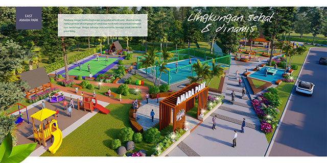 Akan dilengkapi dengan Amara Park yaitu taman bermain anak dan juga tempat olah raga.